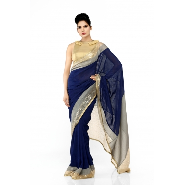 Blue Linen Sari with Double Border